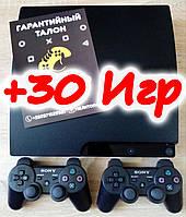Playstation 3 (PS 3 Slim) на 320гб, Два Джойстика, Прошитая, Отличное состояние, Гарантия, Магазин