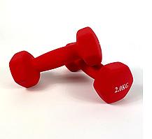Гантелі для фітнесу NEO-SPORT 2 кг. x 2 шт., метал з вініловим покриттям (червоні)