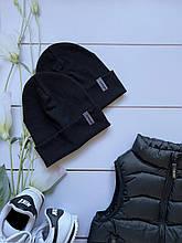 Демисезонная детская двойная трикотажная шапочка в рубчик для девочки и мальчика.