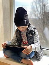 Демисезонная детская двойная трикотажная шапочка с подворотом для девочки и мальчика.