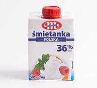 Вершки ультрапастеризовані Mlekovita  «Smietanka 36 %» 0,5 л.