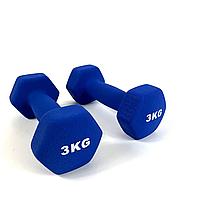 Гантелі для фітнеса NEO-SPORT 3 кг. x 2 шт., метал з вініловим покриттям (сині)