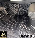Оригинальные Коврики BMW X5 Е70 из Экокожи 3D (2006-2013) с текстильными накидками БМВ Х5 Е70 Тюнинг, фото 9