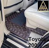 3D Килимки на Hyundai Santa Fe Шкіряні (2012-2018) з текстильними накидками, фото 2