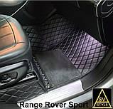 3D Килимки на Hyundai Santa Fe Шкіряні (2012-2018) з текстильними накидками, фото 4
