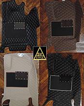 3D Коврики на Hyundai Santa Fe Кожаные  (2012-2018) с текстильными накидками