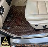 3D Килимки на Hyundai Santa Fe Шкіряні (2012-2018) з текстильними накидками, фото 6