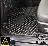 3D Килимки на Hyundai Santa Fe Шкіряні (2012-2018) з текстильними накидками, фото 7