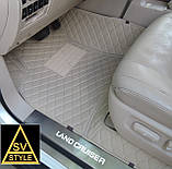 3D Килимки на Hyundai Santa Fe Шкіряні (2012-2018) з текстильними накидками, фото 9