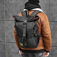 Мужской рюкзак роллтоп черный, городской рюкзак, Roll top, спортивный рюкзак, молодежный рюкзак