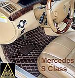 Килимки на Mercedes w205 з Екошкіри 3D (2014+) з текстильними накидками, фото 5