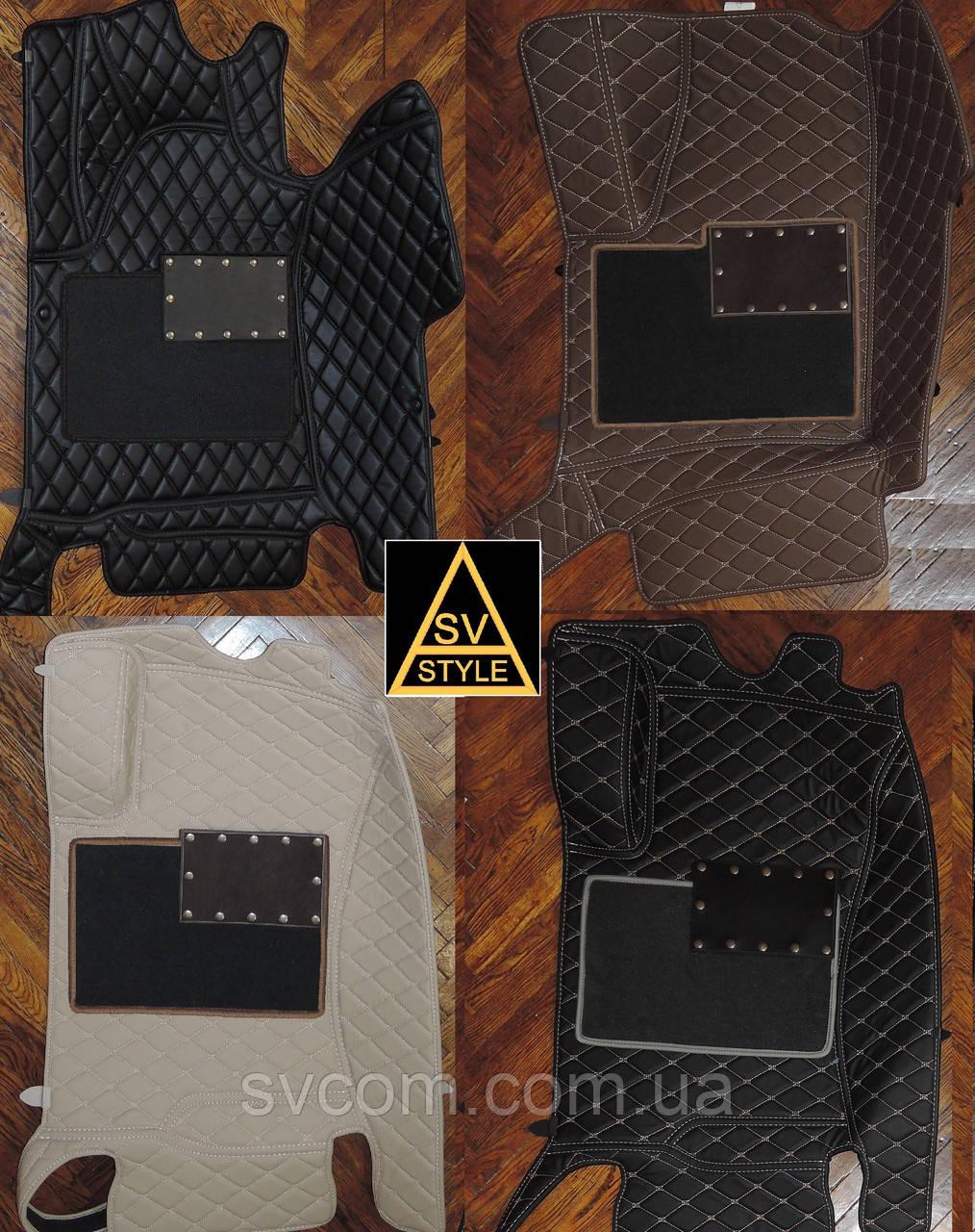 Килимки на Mercedes GLC X253 Шкіряні 3D (2015+) з текстильними накидками