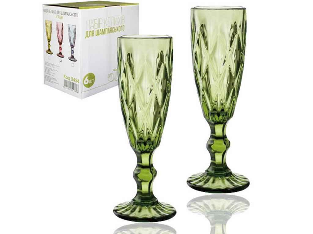 Набір келихів для шампанського 6шт Грані смарагд 200мл 9454 ТМ SNT