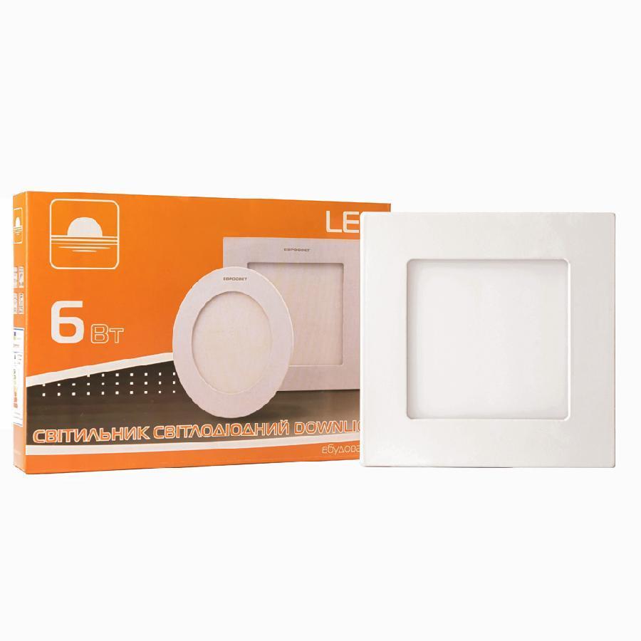 Світильник точковий врізний ЕВРОСВЕТ 6Вт квадрат LED-S-120-6 4200К