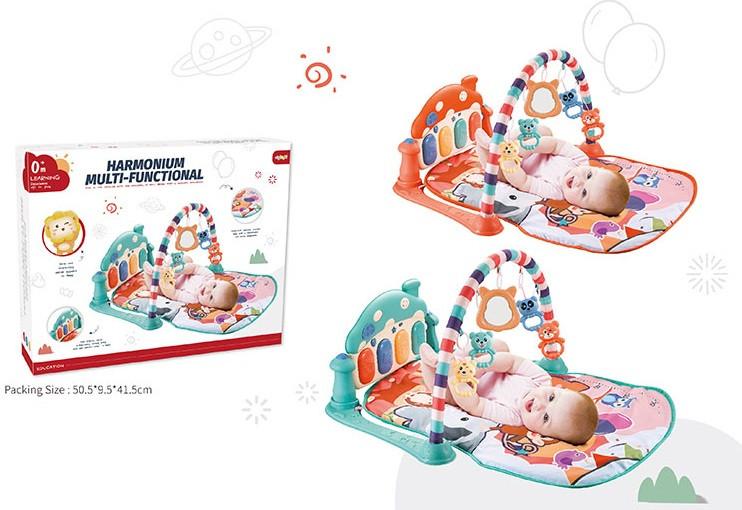 Детский коврик для новорожденных, 2 вида, пианино, музыка, свет, погремушки, в коробке, Развивающий коврик