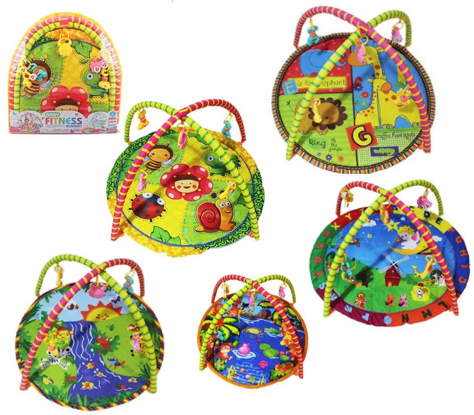 Коврик для малышей 5 видов,с погремушками на дуге, в сумке, 63 см