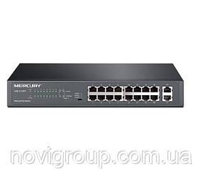 Комутатор POE Mercury S118PS 16 портів POE 100Мбит + 2 порт Ethernet (UP-Link) 100 Мбіт, БП вбудований, BOX