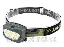 Налобный фонарь 9355COB 3xAAA  Зеленый