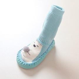 Носки - чешки махровые для детей Бирюзовые с мишкой