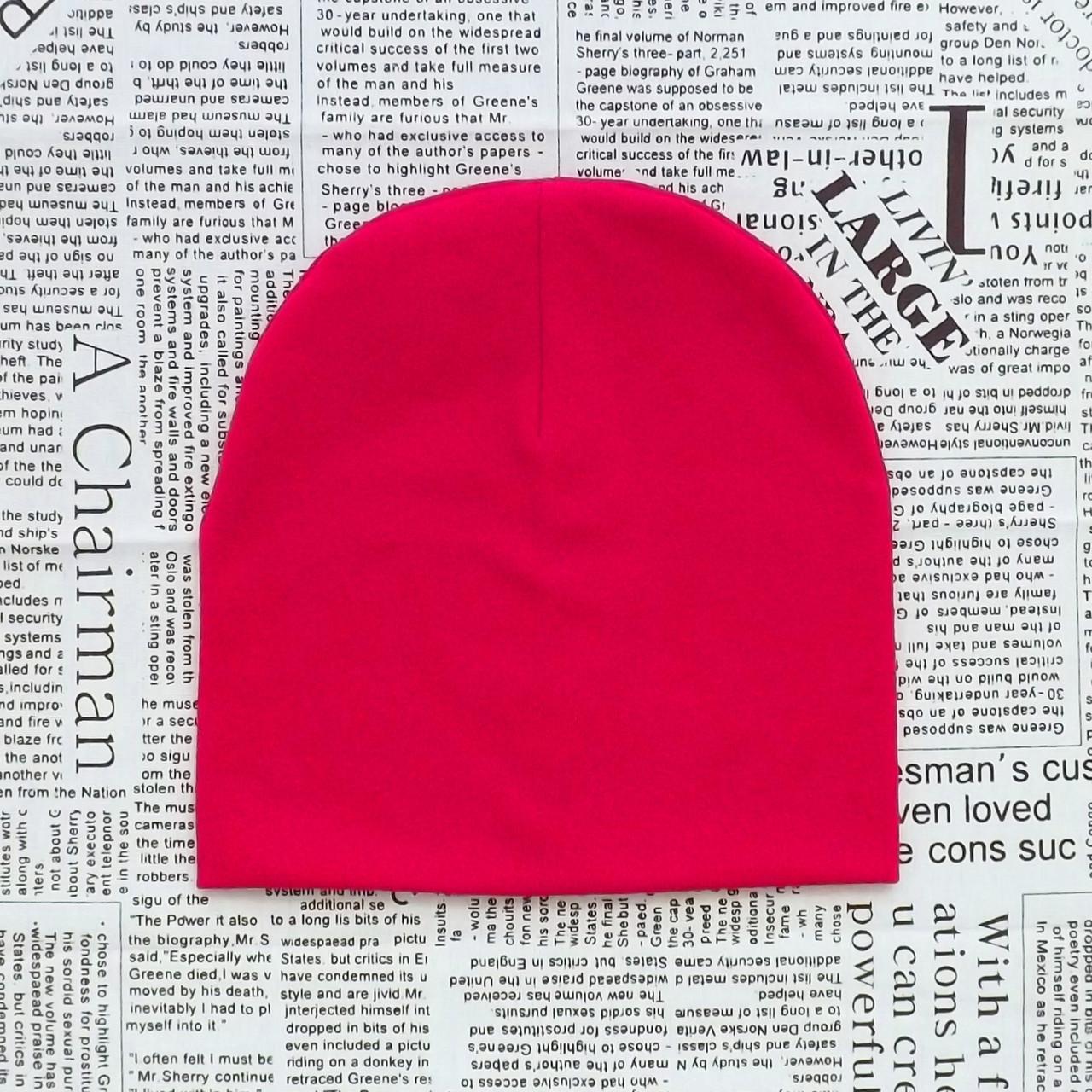 Демісезонна шапка дитяча 4-12 років Яскраво-рожева (07518)