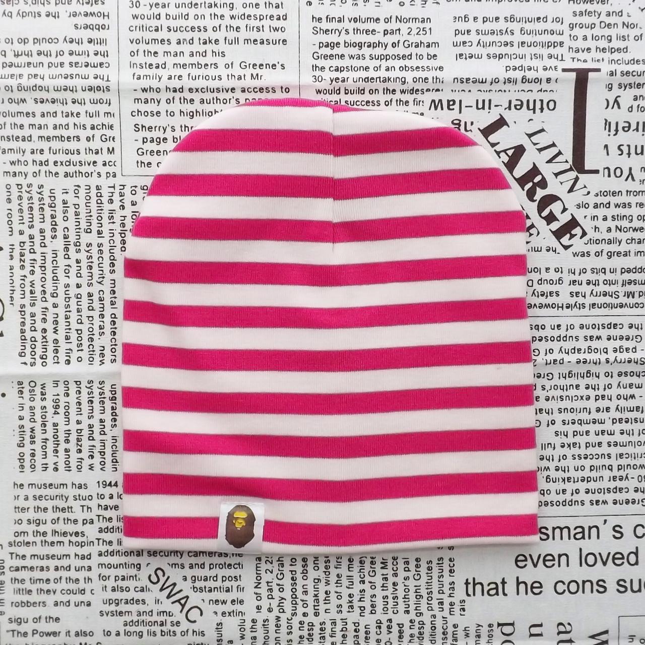 Шапка Варе Kids  серая с розовыми полосками (07004)