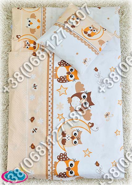 Детское постельное белье в кроватку, постельный комплект (сова бежевый)