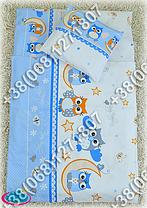 Детское постельное белье в кроватку, постельный комплект (сова голубой), фото 3