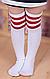 Гольфи - панчохи для дівчинки білі з червоними смужками УЦІНКА, фото 2