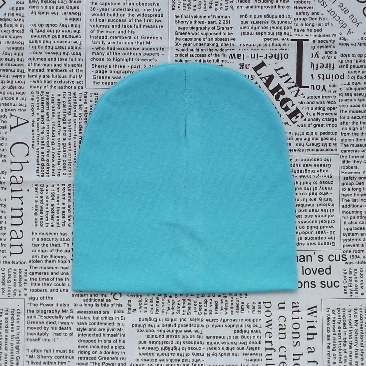 Демисезонная шапка детская 4-12 лет Бирюзовый (07624)