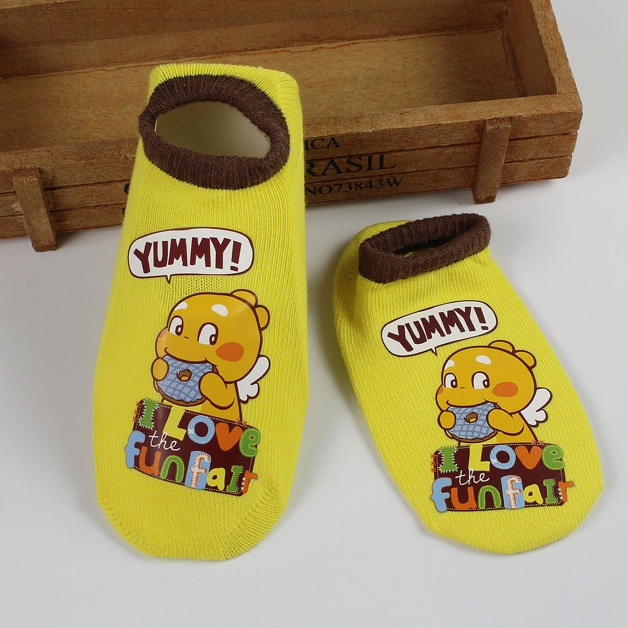 Шкарпетки антиковзні жовті з дракошей