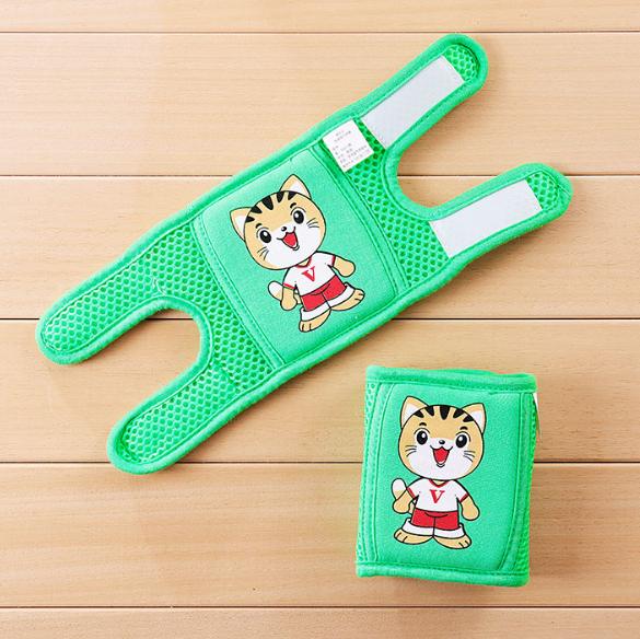 Наколенники детские в сеточку Котята Зеленый (01254)