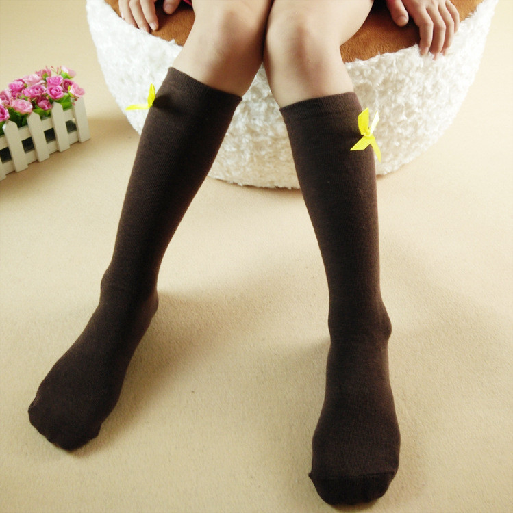Гольфы - чулки для девочки темно коричневые (10092)
