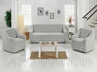Чохол на диван і два крісла Жаккард Бордовий 50204 Світло-сірий
