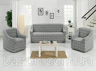 Чохол на диван і два крісла Жаккард Бордовий 50204 Сірий