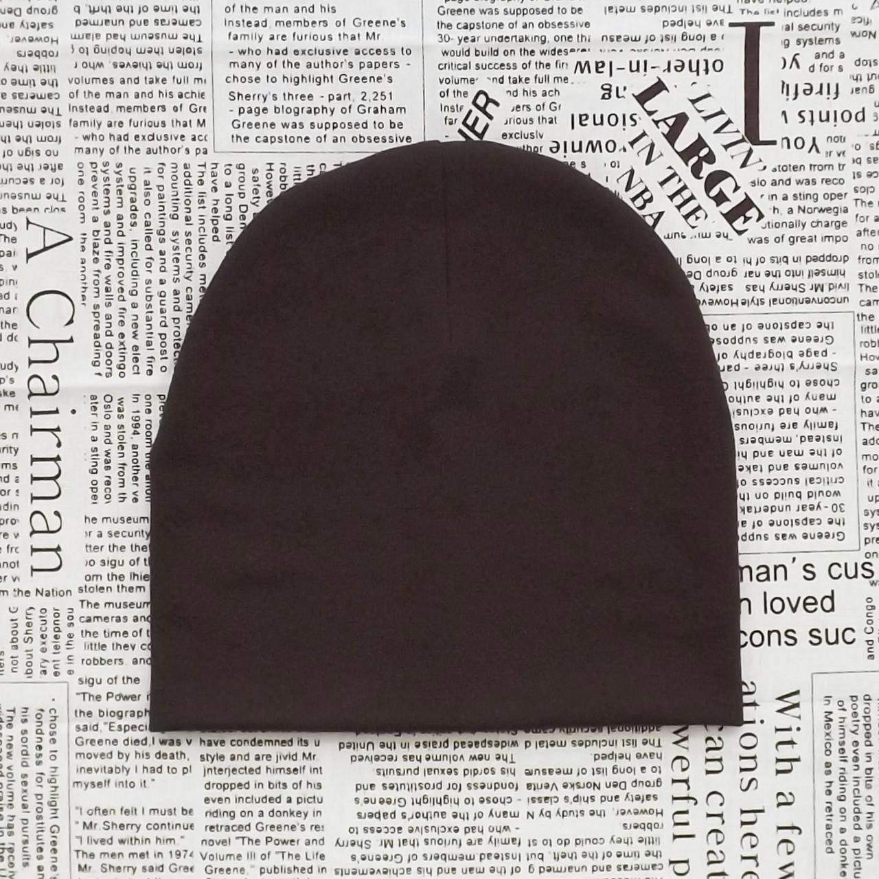 Демісезонна трикотажна шапка дитяча 4-12 років Коричневий (07632)