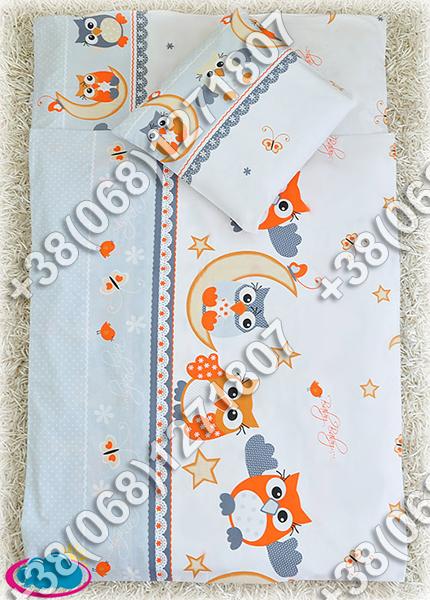 Детское постельное белье в кроватку, постельный комплект (сова серый)