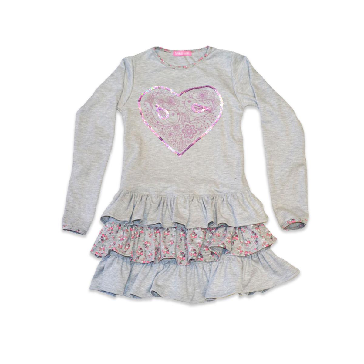 Платье трикотажное для девочки  SmileTime Love Bird, серое