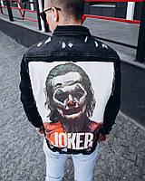 Мужской джинсовый пиджак серый с модный принтом на спине Джокера джинсовка мужская чёрная с Джокером М размер