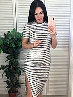Летние платья - 52041 - Трикотажное летнее женское платье в полоску
