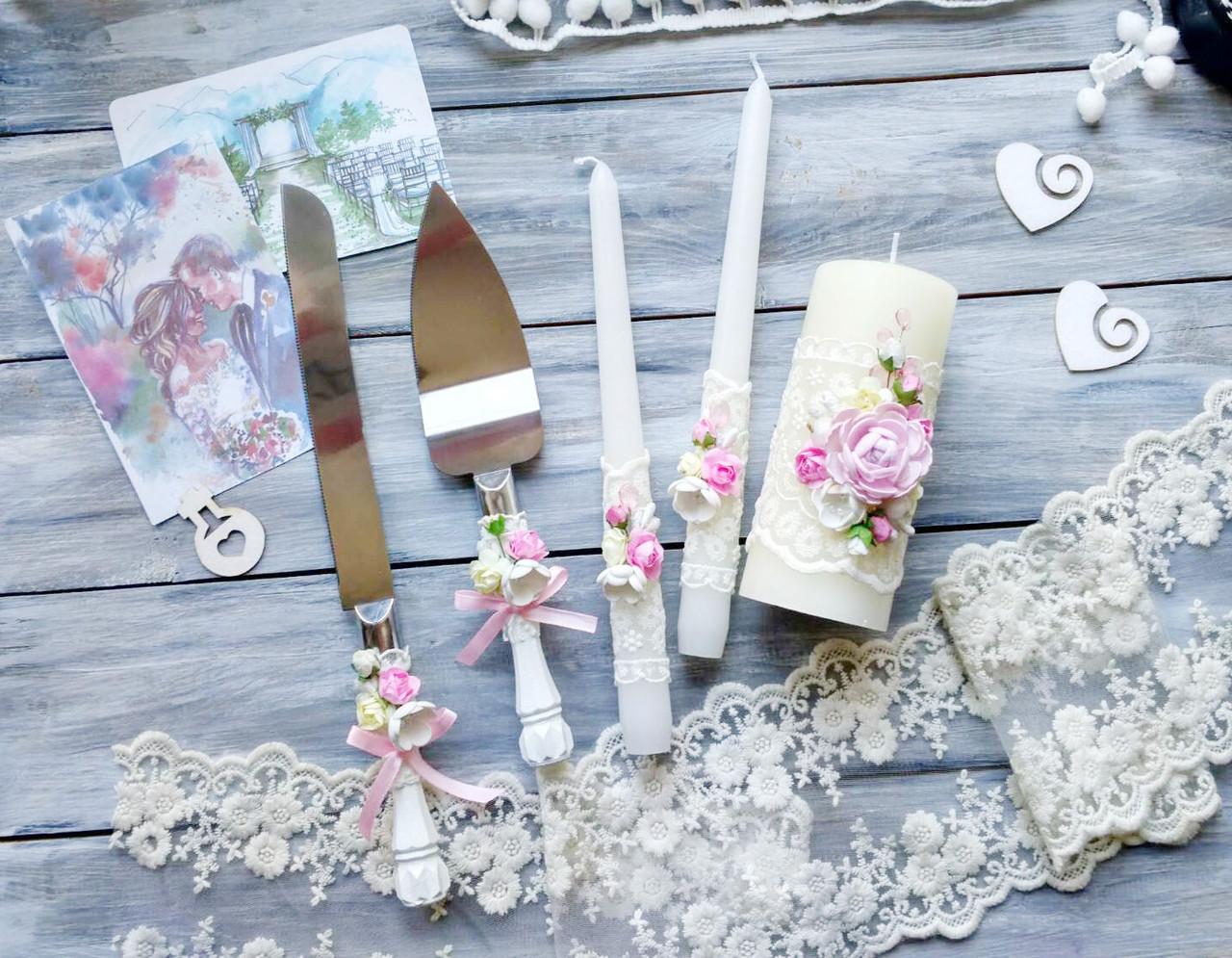 Свадебный набор аксессуаров бокалы и набор для торта