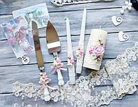 Свадебный набор аксессуаров бокалы и набор для торта, фото 1
