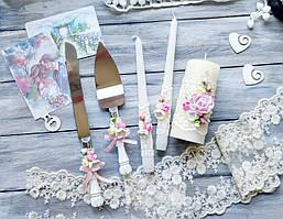 Весільний набір аксесуарів свічки і набір для торта рожевий