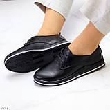 Женские туфли черные на шнурках натуральная кожа, фото 2