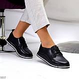 Женские туфли черные на шнурках натуральная кожа, фото 3