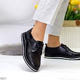 Женские туфли черные на шнурках натуральная кожа, фото 5
