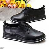 Женские туфли черные на шнурках натуральная кожа, фото 4