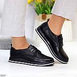 Женские туфли черные на шнурках натуральная кожа, фото 6