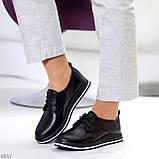 Женские туфли черные на шнурках натуральная кожа, фото 7