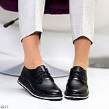 Женские туфли черные на шнурках натуральная кожа, фото 8