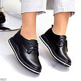 Женские туфли черные на шнурках натуральная кожа, фото 9